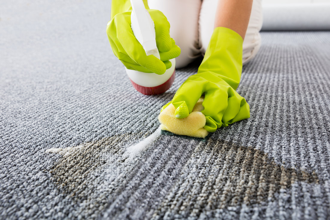 Carpet stain removal with proper chemicals